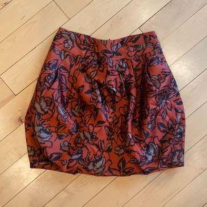 Anthropologie Orange floral watercolor mini skirt